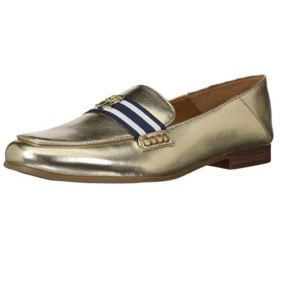 196e6b604cb50 Tommy Hilfiger Metallic Gold Navy Striped Loafers